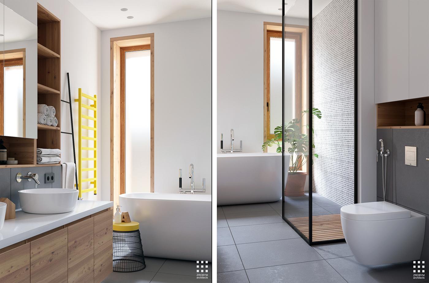 3d Ontwerpen moderne badkamer door ZROBYM architects