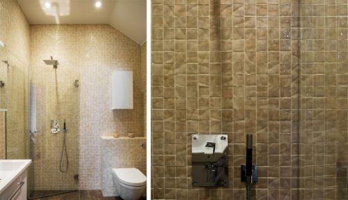 tegels badkamer mozaiek: badkamer met blauwe mozaiek tegels: blauw, Badkamer
