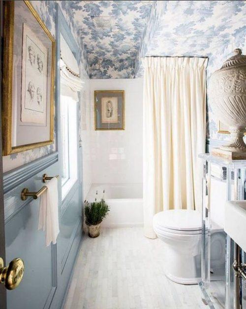 badkamer behang plafond