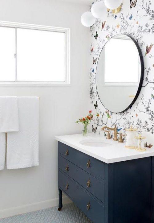badkamer behang vlinders