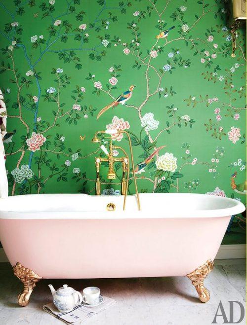 badkamer behang vogels