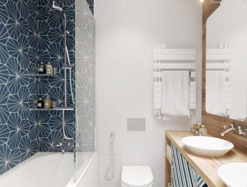 Badkamer met geometrische patronen