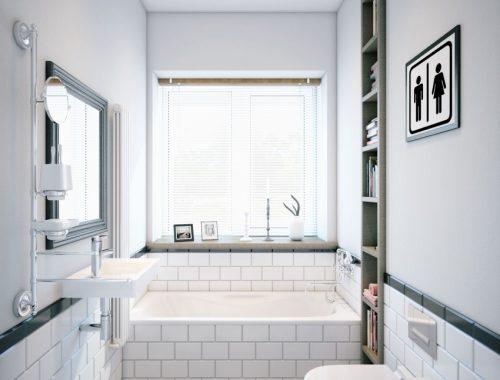 Badkamer met houten boekenkast