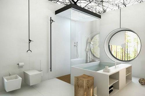 Badkamer idee n met wit en hout badkamers voorbeelden - Gemeubleerde salle de bains ontwerp ...