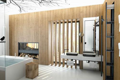 Badkamers voorbeelden » Badkamer ideeën met wit en hout