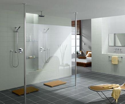 Inloopdouche zonder muren - Badkamers voorbeelden