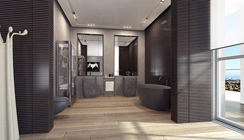 Badkamer met matzwarte sanitair - Badkamers voorbeelden