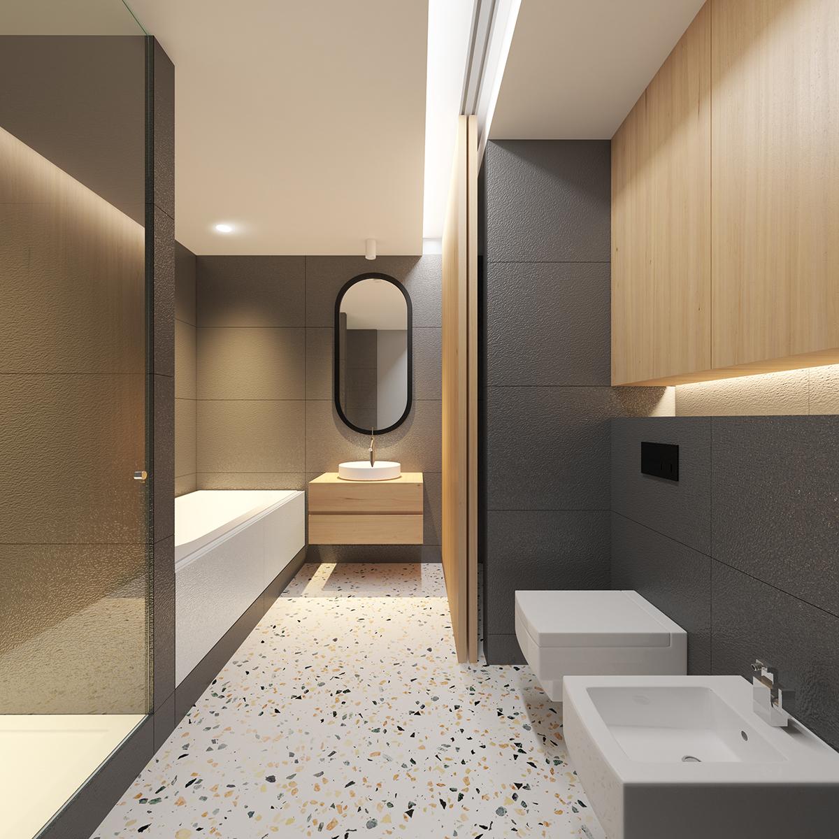Badkamer met een washok die afgesloten kan worden met schuifdeur