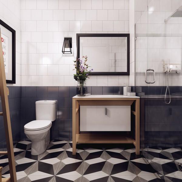 Badkamer met leuke tegel ideeën - Badkamers voorbeelden