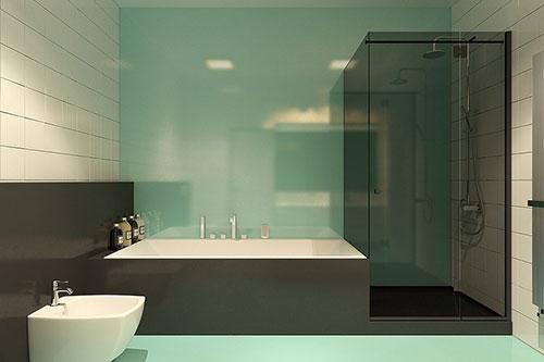 Badkamers voorbeelden    Badkamer met mintgroene vloer