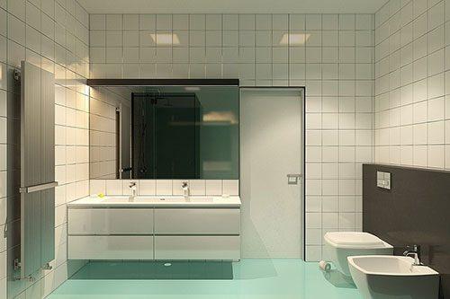 Badkamer met mintgroene vloer