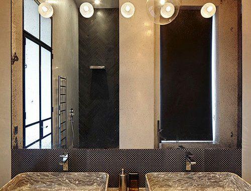 Badkamer ontwerp met bruintinten