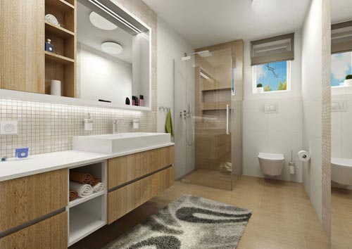 Badkamers voorbeelden » Badkamer ontwerp voor moderne villa