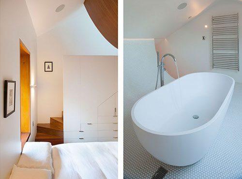 Badkamer met rondvormige vloer