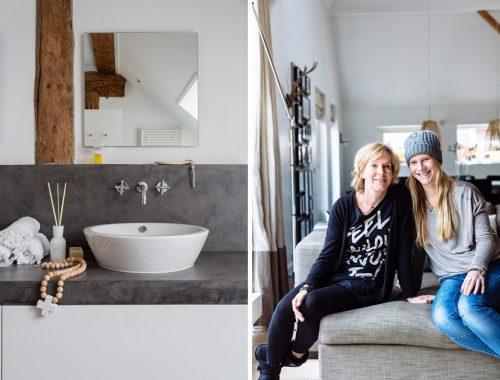 Badkamer met stijlvolle mix van wit, grijs en hout