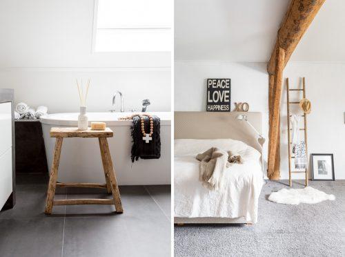 Badkamer met stijlvolle mix van wit grijs en hout badkamers voorbeelden - Badkamer exotisch hout ...