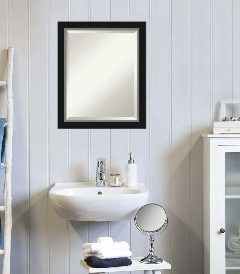 badkamer zwart zilver spiegel