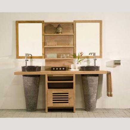 Badkamers voorbeelden met Teak badkamermeubelen