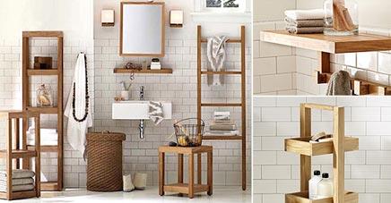 Badkamer met teakmeubel en cilinder waskommen - Badkamers voorbeelden