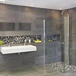 Grijze badkamer van Wooning met bijzondere stortdouche