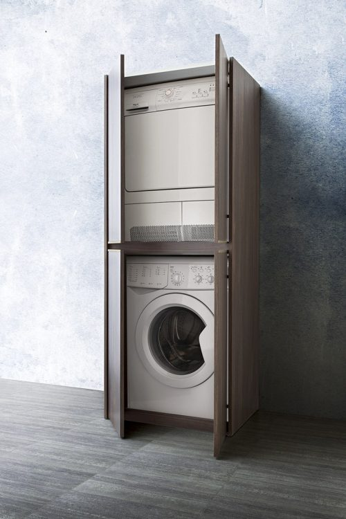 Badmeubel collectie met kast voor wasmachine en droger for Meuble pour cacher lave linge