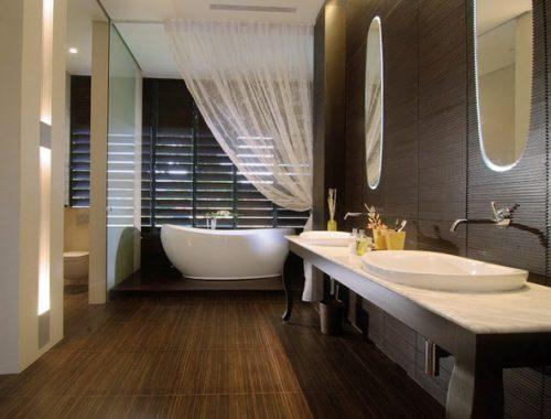 Bamboe vloer in badkamer