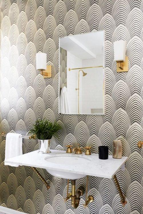 Behang in badkamer - Badkamers voorbeelden