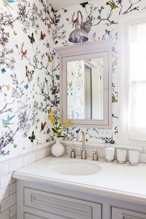 badkamers voorbeelden » behang in badkamer, Meubels Ideeën