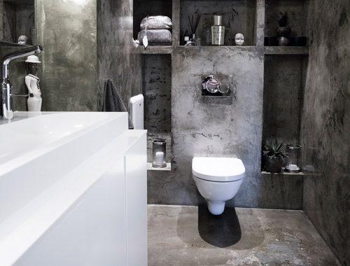 Betonstuc badkamer van fotograaf Margrethe Myhrer