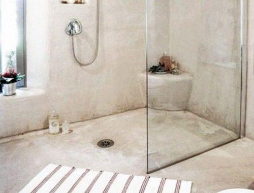 Betonvloer in badkamer
