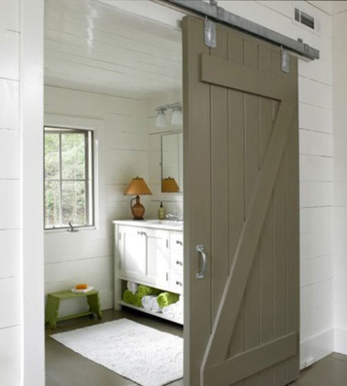 badkamers voorbeelden » badkamer houten schuifdeur, Badkamer
