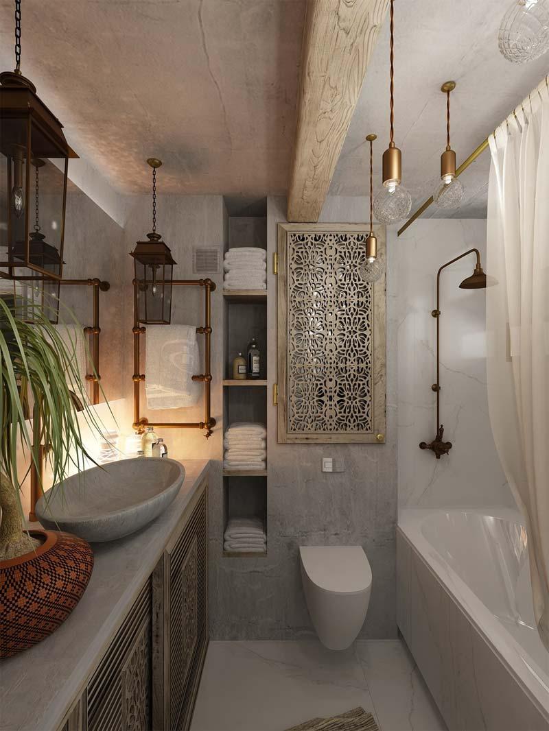 Bohemian badkamer betonstuc
