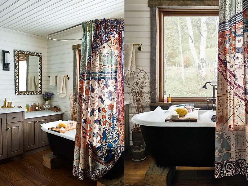 Bohemian badkamer met douchegordijn