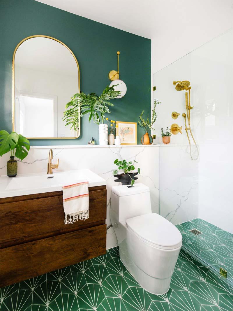 bohemian badkamer groen goud