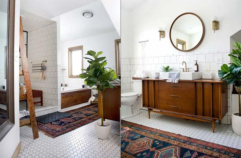 Bohemian badkamer Witte tegels & vintage meubels