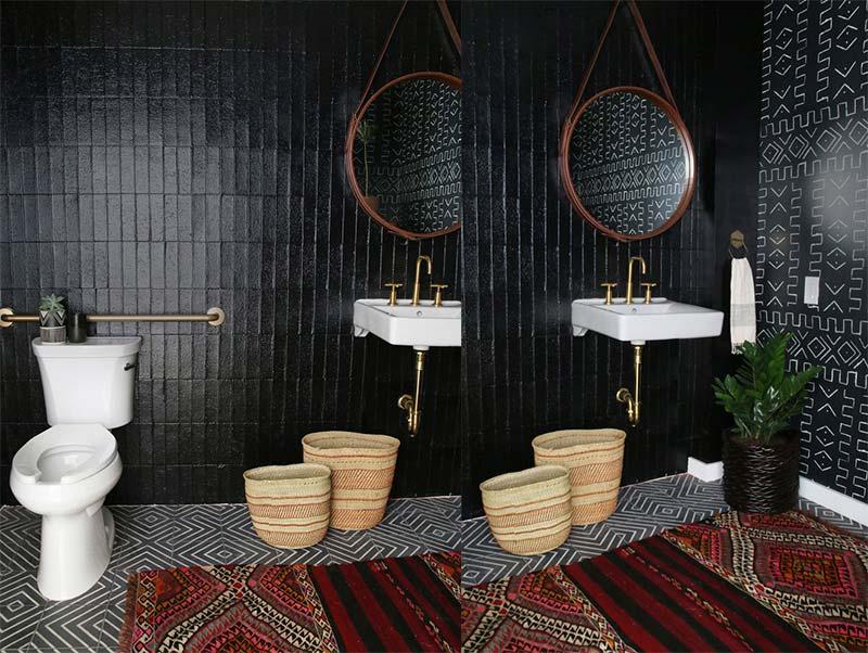 Bohemian badkamer met Zwarte tegels & vintage vloerkleed