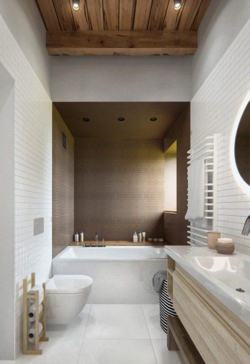 Bruine tinten in een Scandinavische badkamer - Badkamers voorbeelden