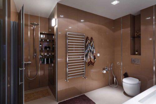 Bruine wandtegels in luxe badkamer badkamers voorbeelden for Wandtegels badkamer