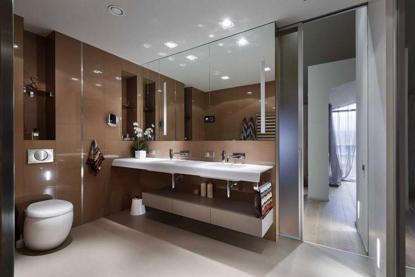 Bruine wandtegels in luxe badkamer - Badkamers voorbeelden