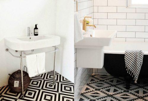 Zwart witte patroontegels badkamers voorbeelden - Badkamer zwarte vloer ...