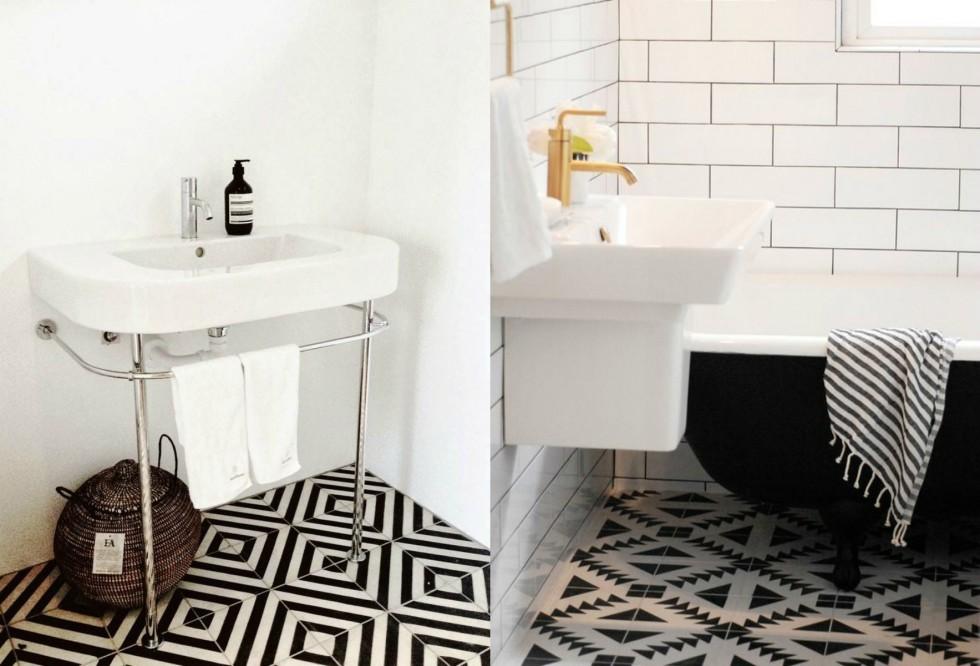 Zwart witte patroontegels badkamers voorbeelden