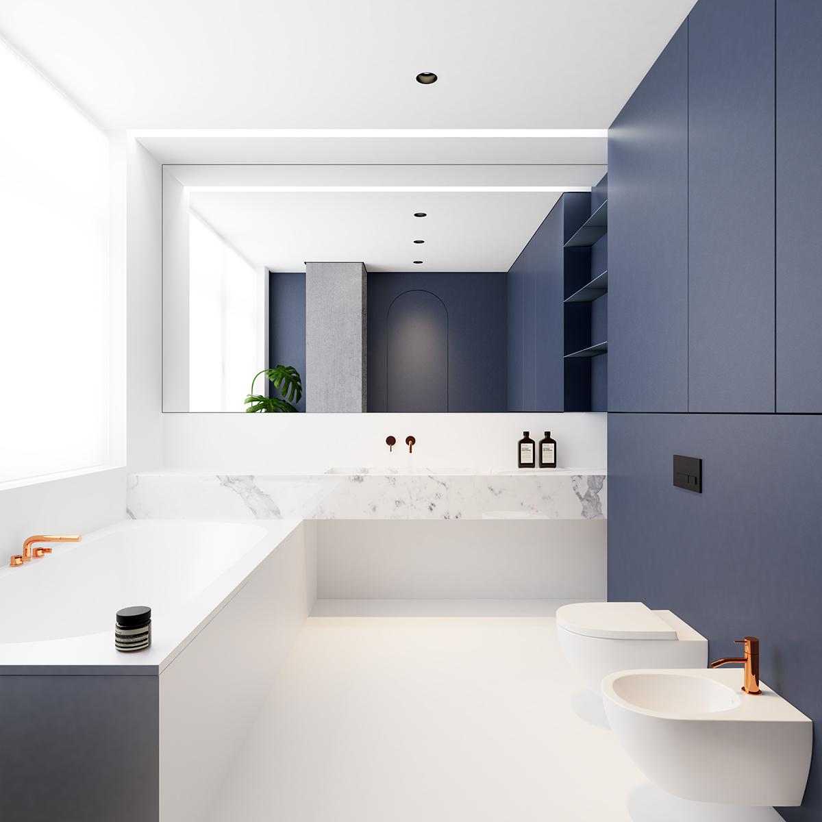Chique moderne badkamer met kleuren wit, blauw, koper en marmer