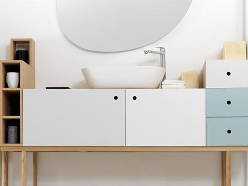 Creatieve badkamermeubel van houten boxen