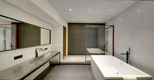 Designbadkamer van moderne loft badkamers voorbeelden - Rechthoekig woonoppervlak ...