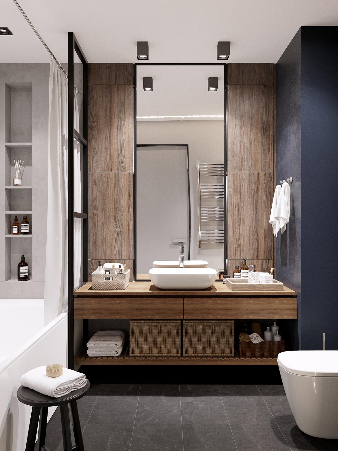 Deze kleine badkamer heeft een super leuk ontwerp gekregen