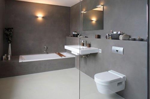 badkamers voorbeelden » gietvloer in badkamer, Badkamer