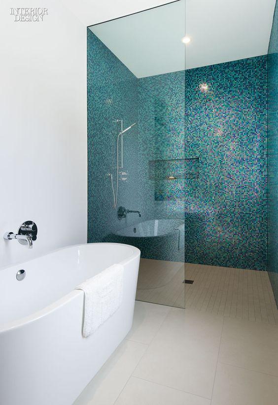 Badkamers voorbeelden u00bb Glazen douchewand tot plafond