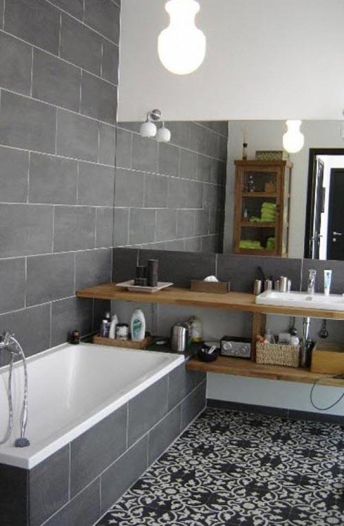Wandtegels Keuken Karwei : door deze prachtige badkamer. Een badkamer met grote grijze wandtegels