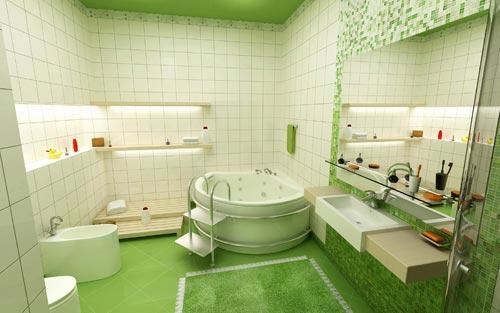 Badkamers voorbeelden    Groene badkamer met jacuzzi