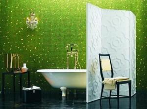 Groene badkamer met scherm